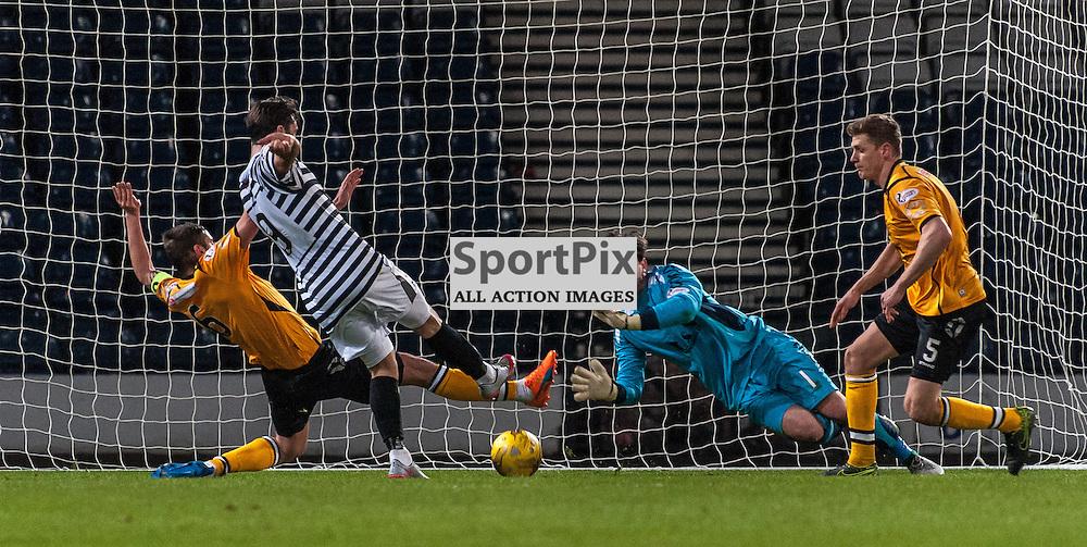#1 Jordan Hart (Annan Athletic) saves from #9 Chris Duggan (Queen's Park) - Queen's Park v Annan Athletic - Ladbrokes League 2 - 15 March 2016 - © Russel Hutcheson | SportPix.org.uk