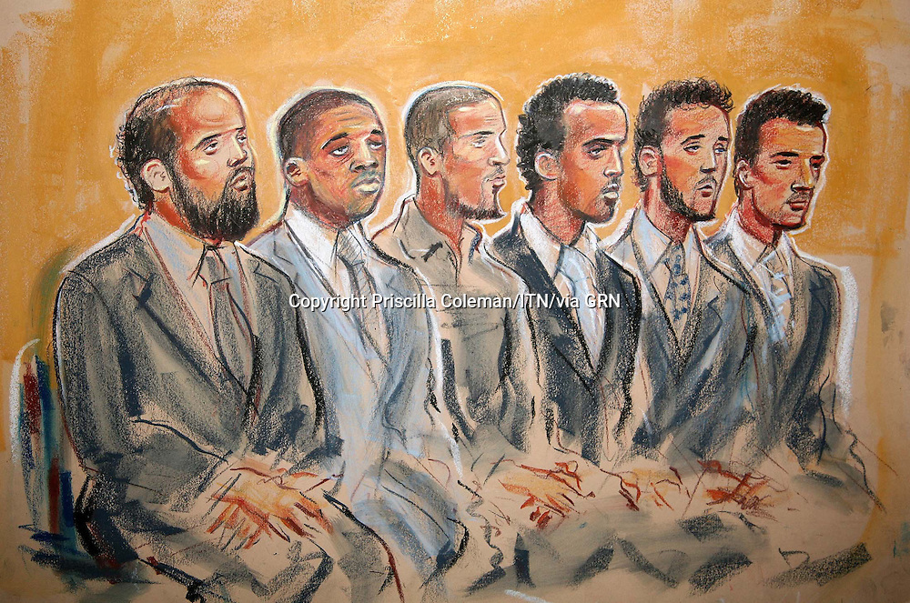 ©Priscilla Coleman ITV News.Supplied by: Photonews Service Ltd Old Bailey.Pic shows: (L TO R) MUKTAR SAID IBRAHIM, MANFO KWAKU ASIEDU, HUSSAIN OSMAN, YASSIN OMAR, RAMZI MOHAMMED AND ADEL YAHYA  APPEARING AT WOOLWICH CROWN COURT, WHERE THEY ARE APPEARING ON CHARGES OF ATTEMPTING TO COMMIT EXPLOSIONS ON 21 JULY 2005 IN LONDON. THE CASE IS EXPECTED TO OPEN ON 15 JAN 2007..Illustration: Priscilla Coleman ITV News