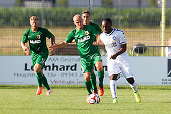18.07.2014, Sportplatz Jettingen, Jettingen, GER, FS Vorbereitung, Karlsruher SC vs FC Augsburg, im Bild l-r: im Zweikampf, Aktion, mit Tobias Werner #13 (FC Augsburg) und Reinhold Yabo #8 (Karlsruher SC) // during a Friendly Match between Karlsruher SC and FC Augsburg at the Sportplatz Jettingen in Jettingen, Germany on 2014/07/18. EXPA Pictures © 2014, PhotoCredit: EXPA/ Eibner-Pressefoto/ Kolbert<br /> <br /> *****ATTENTION - OUT of GER*****