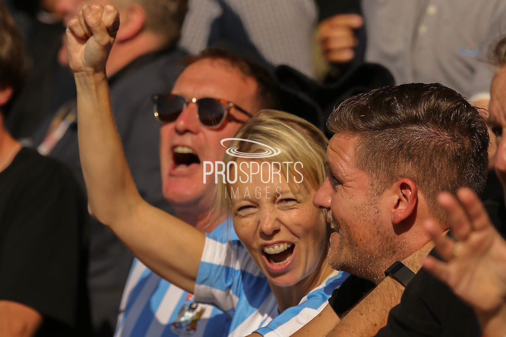 Cove fans cheer their second goal during the Sky Bet League 1 match between Burton Albion and Coventry City at the Pirelli Stadium, Burton upon Trent, England on 6 September 2015. Photo by Simon Davies.