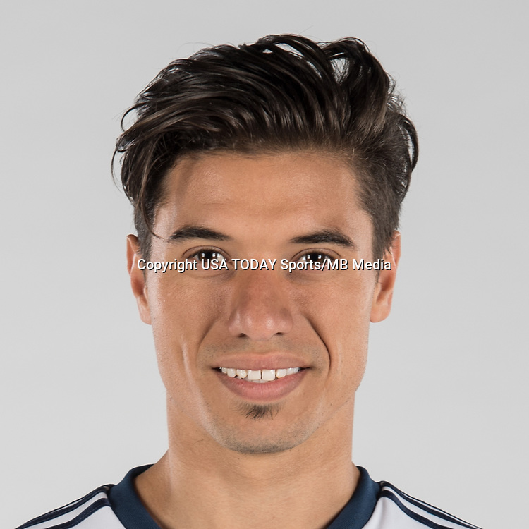 Feb 25, 2017; USA; Vancouver Whitecaps FC player Nicolas Mezquida poses for a photo. Mandatory Credit: USA TODAY Sports