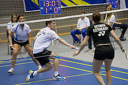 Stasa Poznanovic with Zvonimir Durkinjak in mixed double finals at Slovenia Open Badminton tournament 2012, on May 13, 2012, in Medvode, Slovenia. (Photo by Grega Valancic / Sportida.com)