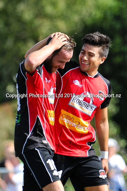 Juan Chang (l) celebrates Gary Ogilvie of Canterbury United winning goal during the ASB Premiership Football match, Canterbury V Southern United, at English Park, Christchurch. 28th Febuary 2016. Copyright Photo: John Davidson / www.photosport.nz