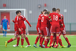 YSTRAD MYNACH, WALES - Thursday, February 19, 2015: Wales' Matthew Smith [hidden] celebrates scoring the first goal against Czech Republic during a friendly match at the Centre of Sporting Excellence. (Pic by Carl Robertson/Propaganda)