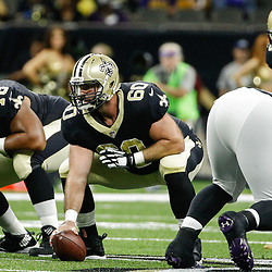 Aug 31, 2017; New Orleans, LA, USA; New Orleans Saints center Max Unger (60) against the Baltimore Ravens during the first half of a preseason game at the Mercedes-Benz Superdome. Mandatory Credit: Derick E. Hingle-USA TODAY Sports
