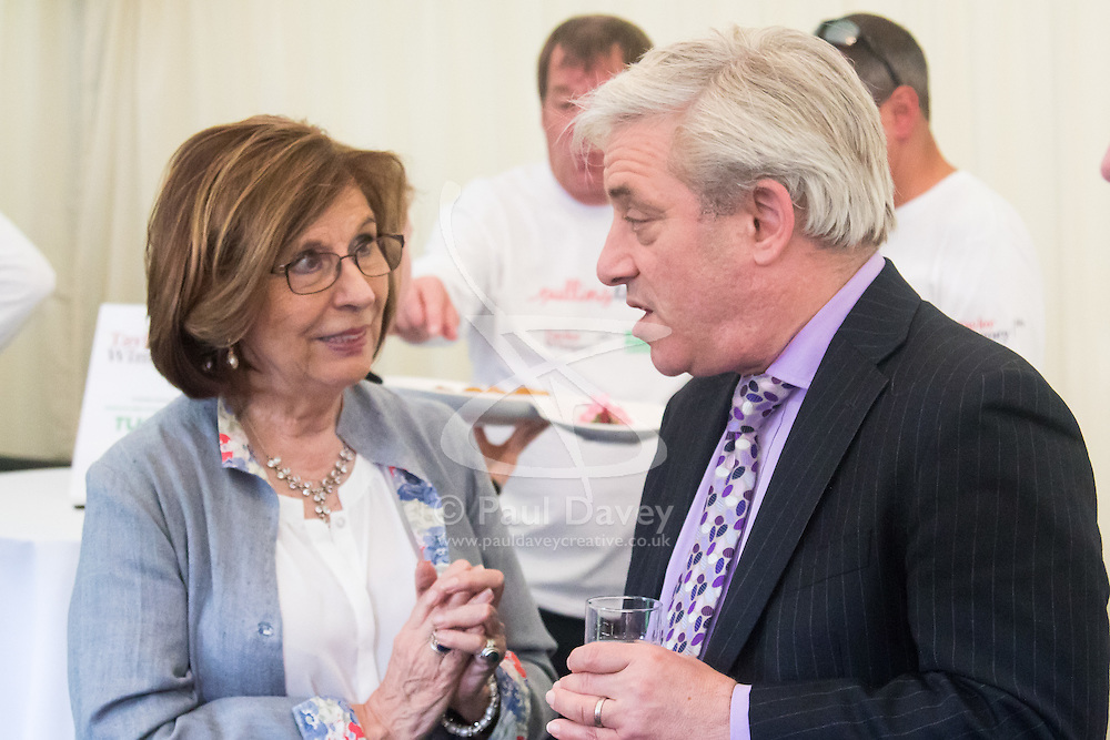 Westminster, London, June 6th 2016. Speaker of the House of Lords Baroness D'Souza and Commons Speaker John Bercow chat as teams from uk industry as well as the House of Commons and the House of Lords compete in the annual McMillan Cancer Charity tug o' war.