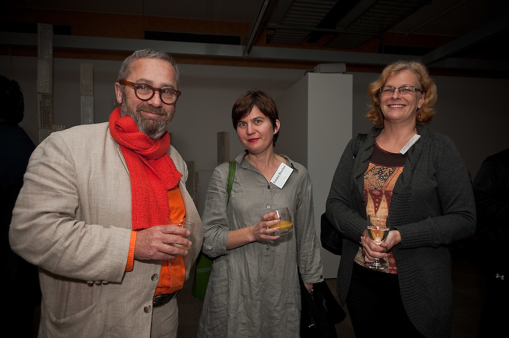 Frank Stark, Emma Bugden, Jane Wrightson. Pataka cocktail function. Photo by Mark Tantrum
