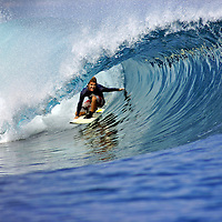 Chris Webb surfing deep in the barrel on Panaitan Island in West Java.