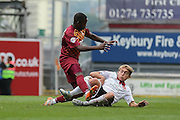Bradford City midfielder Mark Marshall tangles with Sheffield United midfielder Louis Reed during the Sky Bet League 1 match between Bradford City and Sheffield Utd at the Coral Windows Stadium, Bradford, England on 20 September 2015. Photo by Simon Davies.