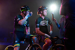 February 10, 2019 - Melbourne, VIC, U.S. - MELBOURNE, VIC - FEBRUARY 08: Leigh Howard and Kelland Michael O'Brien of Australia speak to media after winning their race at The Six Day Cycling Series on February 08, 2019 at Melbourne Arena, VIC. (Photo by Speed Media/Icon Sportswire) (Credit Image: © Speed Media/Icon SMI via ZUMA Press)