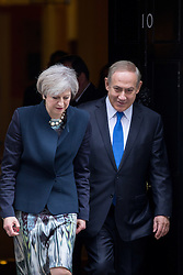 © Licensed to London News Pictures. 06/02/2017. London, UK. British Prime Minister Theresa May meets Israeli Prime Minister Benjamin Netanyahu for a meeting in Downing Street. Photo credit : Tom Nicholson/LNP