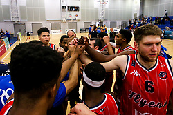 Bristol Flyers huddle after victory over Cheshire Phoenix - Photo mandatory by-line: Robbie Stephenson/JMP - 31/03/2019 - BASKETBALL - Cheshire Oaks Arena - Ellesmere Port, England - Cheshire Phoenix v Bristol Flyers - British Basketball League Championship