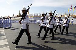 May 4, 2019 - Bangkok, Thailand - Royal Guards patrol outside Grand Palace before the coronation of Thailand's King Maha Vajiralongkorn Bodindradebayavarangkun (Rama X) in Bangkok. (Credit Image: © Chaiwat Subprasom/SOPA Images via ZUMA Wire)
