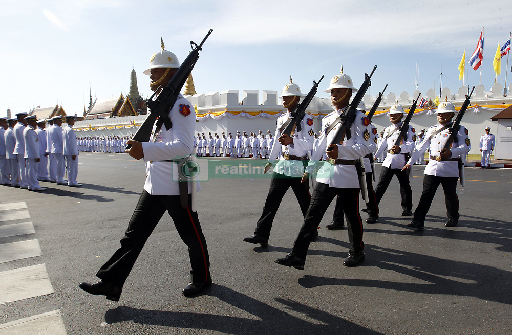 May 4, 2019 - Bangkok, Thailand - Royal Guards patrol outside Grand Palace before the coronation of Thailand's King Maha Vajiralongkorn Bodindradebayavarangkun (Rama X) in Bangkok. (Credit Image: © Chaiwat Subprasom/SOPA Images via ZUMA Wire)