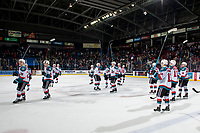 KELOWNA, CANADA - FEBRUARY 23:  The Kelowna Rockets salute the fans after the win against the Kamloops Blazers on February 23, 2019 at Prospera Place in Kelowna, British Columbia, Canada.  (Photo by Marissa Baecker/Shoot the Breeze)