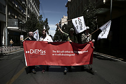 May 1, 2019 - Athens, Greece - Members of the pan-European movement Diem25 during a rally marking May Day in Athens on May 1, 2019  (Credit Image: © Panayotis Tzamaros/NurPhoto via ZUMA Press)