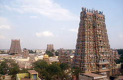 Ornately carved and richly decorated temples at Madurai; Tamil Nadu; India,