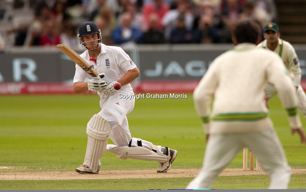 Jonathan Trott bats during his century in the final npower Test Match between England and Pakistan at Lord's.  Photo: Graham Morris (Tel: +44(0)20 8969 4192 Email: sales@cricketpix.com) 27/08/10