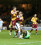 Motherwell&rsquo;s Connor Ripley and Ben Hall combine to stop Dundee&rsquo;s Rory Loy  - Motherwell v Dundee - Ladbrokes Premiership at Fir Park<br /> <br /> <br />  - &copy; David Young - www.davidyoungphoto.co.uk - email: davidyoungphoto@gmail.com