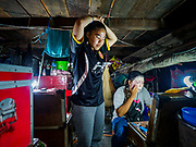 17 OCTOBER 2018 - BANGKOK, THAILAND: Girls backstage get ready to perform in the Chinese opera on the last night of the Vegetarian Festival at Chit Sia Ma Shrine in Bangkok's Chinatown. The Vegetarian Festival, also called the Nine Emperor Gods Festival, is a nine-day Taoist celebration beginning on the eve of 9th lunar month of the Chinese calendar. Traditional Chinese operas, called Ngiew in Thailand, are sponsored at many Chinese shrines and temples during the Vegetarian Festival.  PHOTO BY JACK KURTZ