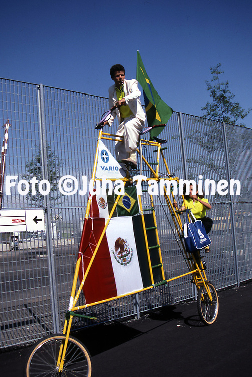 FIFA World Cup - Italia 1990<br /> 16.6.1990, Stadio Delle Alpi, Turin / Torino, Italy.<br /> Group C, Brazil v Costa Rica.<br /> Brazilan fan Z&eacute; do Pedal with his bicycle outside the stadium.