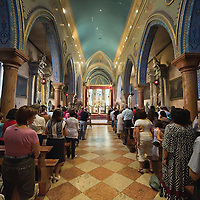 VENICE, ITALY - AUGUST 14:  Worshippers attend a solemn Mass for the celebration of the Assumption at the Armenian monastery of San Lazzaro on August 14, 2011 in Venice, Italy. The Armenian Monastery is based on San Lazzaro which is a small island in the Venetian Lagoon lying immediately west of the Lido it is completely occupied by the monastery, founded around 1707, is the mother-house of the Mekhitarist Order, the island is one of the world's foremost centers of Armenian culture