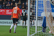York City celebrate York City defender Keith Lowe goal  during the Sky Bet League 2 match between Luton Town and York City at Kenilworth Road, Luton, England on 10 October 2015. Photo by Simon Davies.