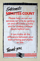 © Licensed to London News Pictures. 03/12/2011, London, UK. A sign encouraging 1980's commuters to help speed up train times by closing carriage doors behind them. Staff working at Richmond Station in London have uncovered railway posters from the late 1980's whilst upgrading poster holders. Photo credit : Stephen Simpson/LNP