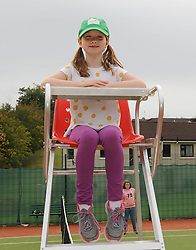 Maude McCabe enjoying the view from the umpries chair at Westport Tennis club&rsquo;s upgraed facilities.<br />