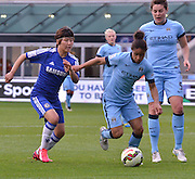 Ji So-Yun v s Demi Stokes  during the FA Women's Super League match between Manchester City Women and Chelsea Ladies at the Sport City Academy Stadium, Manchester, United Kingdom on 10 May 2015. Photo by Mark Pollitt.