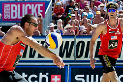 Nick Lucena and Matt Fuerbringer of USA at A1 Beach Volleyball Grand Slam tournament of Swatch FIVB World Tour 2010, semifinal, on August 1, 2010 in Klagenfurt, Austria. (Photo by Matic Klansek Velej / Sportida)