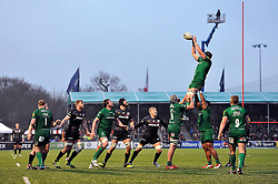 London Irish captain George Skivington rises high to win lineout ball - Photo mandatory by-line: Patrick Khachfe/JMP - Mobile: 07966 386802 03/01/2015 - SPORT - RUGBY UNION - London - Allianz Park - Saracens v London Irish - Aviva Premiership