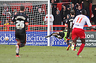 Picture by David Horn/Focus Images Ltd +44 7545 970036.16/03/2013.Dani Lopez of Stevenage (not pictured) scores his and his side's third goal to make it 3-0 during the npower League 1 match at the Lamex Stadium, Stevenage.