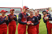 Lancashire Thunders Ria Fackrell getting her cap during the Women's Cricket Super League match between Lancashire Thunder and Loughborough Lightning at the Emirates, Old Trafford, Manchester, United Kingdom on 20 August 2019.