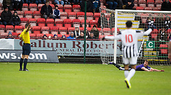 Ayr United&rsquo;s Craig Moore booked for diving. <br /> Dunfermline 3 v 2 Ayr United, Scottish League One played at East End Park, 13/2/2016.
