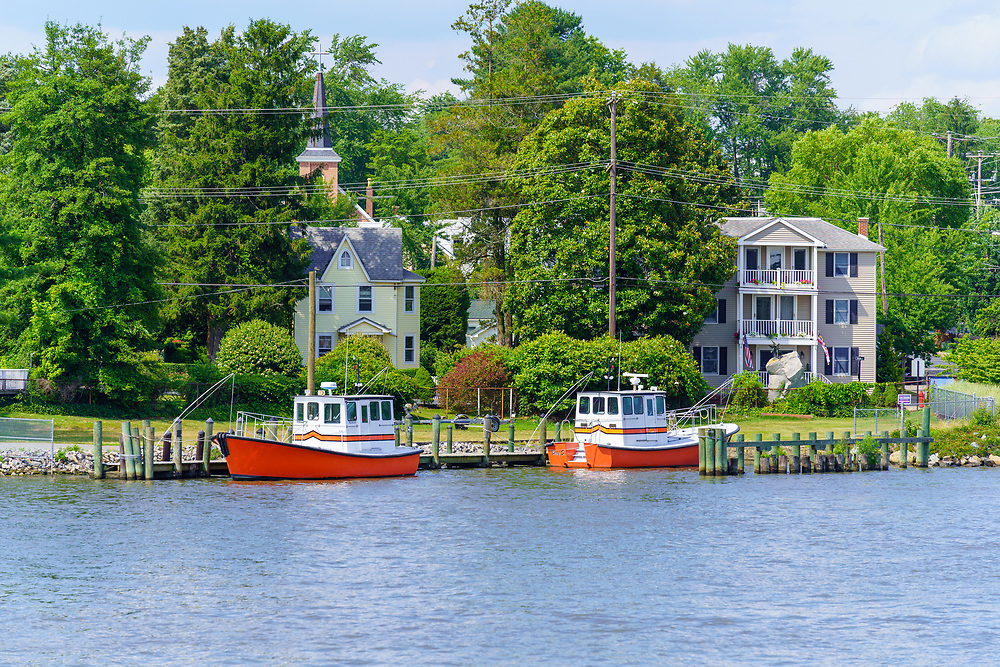 Chesapeake City, MD, USA - June 28. 2020: Pilot Boats are tied to a dock in the Chesapeake and Delaware Canal.