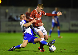 Alfie Kilgour of Bristol Rovers challenges Connor Lemonheigh-Evans of Bristol City - Mandatory by-line: Paul Knight/JMP - 16/11/2017 - FOOTBALL - Woodspring Stadium - Weston-super-Mare, England - Bristol City U23 v Bristol Rovers U23 - Central League Cup