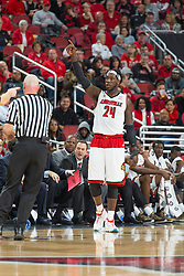 Louisville forward Montrezl Harrell. <br /> <br /> The University of Louisville hosted the University of Miami, Saturday, Feb. 21, 2015 at The Yum Center in Louisville. Louisville won 55-53.<br /> <br /> Photo by Jonathan Palmer