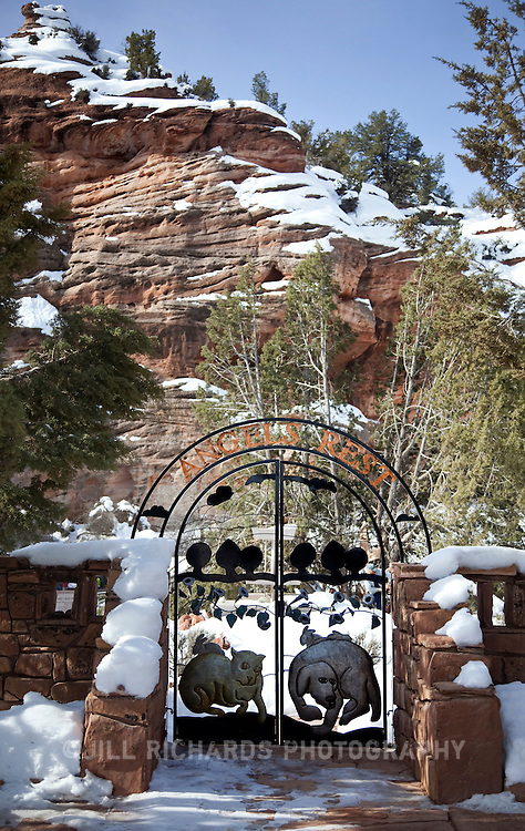 Best Friends Animal Sanctuary located outside Kenab, Utah in Angel Canyon, is home to more than 2,000 dogs, cats, rabbits, horses, birds who come from shelters and rescue groups. Pictured is the entrance to the pet cemetery, named Angels Rest.