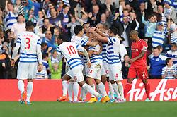 Queens Park Rangers's Eduardo Vargas celebrates with his team mates after scoring. - Photo mandatory by-line: Dougie Allward/JMP - Mobile: 07966 386802 - 19/10/2014 - SPORT - football - London - Loftus Road - QPR v Liverpool - Barclays Premier League