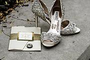 Badgley Mischka silver Wedding Shoes by best Tallmadge wedding photographer, Akron wedding photographer Mara Robinson Photography