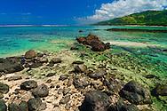 Looking across the coral coast lagoon, Fiji