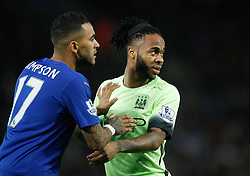 Danny Simpson of Leicester City (L) and Raheem Sterling of Manchester City   - Mandatory byline: Jack Phillips/JMP - 07966386802 - 29/12/2015 - SPORT - FOOTBALL - Leicester - King Power Stadium - Leicester City v Manchester City - Barclays Premier League