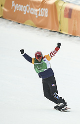 PYEONGCHANG, March 12, 2018  Mike Schultz from the United States celebrates after winning the Men's Snowboard Cross Big Final SB-LL1 of the 2018 PyeongChang Winter Paralympic Games at Jeongseon Alpine Centre, South Korea, March 12, 2018. Mike Schultz claimed the title of the event. (Credit Image: © Xia Yifang/Xinhua via ZUMA Wire)