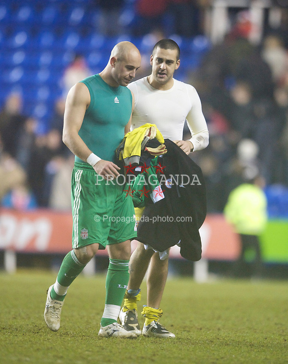 READING, ENGLAND - Saturday, January 2, 2010: Liverpool's goalkeeper Pepe Reina and  and Reading's goalkeeper Adam Federici during the FA Cup 3rd Round match at the Madejski Stadium. (Photo by: David Rawcliffe/Propaganda)