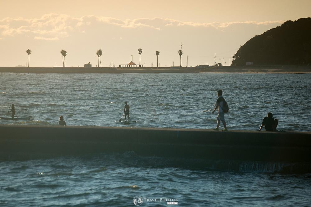 Sunset at Utsumi beach resort.