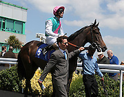 Jockey Ted Duncan on Perfect Glance in the Parade Ring before the 2.20 race at Brighton Racecourse, Brighton & Hove, United Kingdom on 10 June 2015. Photo by Bennett Dean.