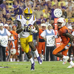 Sep 23, 2017; Baton Rouge, LA, USA; LSU Tigers wide receiver Stephen Sullivan (10) catches a touchdown against the Syracuse Orange during the second quarter of a game at Tiger Stadium. Mandatory Credit: Derick E. Hingle-USA TODAY Sports