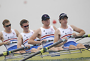 Beijing, CHINA. GBR JM4-, Bow, Jack MORRISSEY, Mathew ROSSITER, George NASH and Kieren EMERY, move away from the start during their semi final, at  the  2007. FISA Junior World Rowing Championships,  Shunyi Water Sports Complex. 10/08/2007 [Photo, Peter Spurrier/Intersport-images]..... , Rowing Course, Shun Yi Water Complex, Beijing, CHINA,