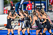 The black Sticks celebrates Amy Robinson of the Black Sticks goal during the FIH Pro League for Hockey played between Germany v Black Sticks Women, Nga Puna Wai Hockey Stadium in Christchurch. 15th February 2019. Copyright photo: John Davidson / www.photosport.nz